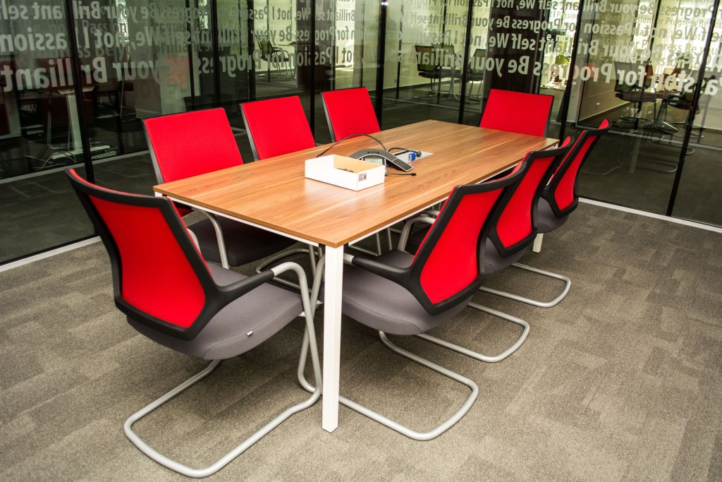 sedus temptation four meeting table, sedus quarterback cantilever visitor chair