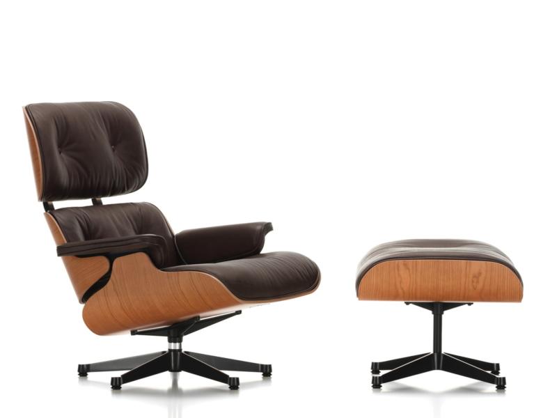 Vitra-Lounge-Chair-Ottoman-poliert-Seiten-schwarz-amerik-Kirschbaum-Leder-Natural-chocolate-Kunststoffgleiter-Freisteller