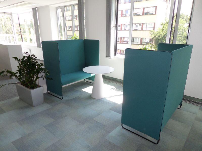 Pedrali Zippo highback 2-seater sofa, Pedrali Ikon table