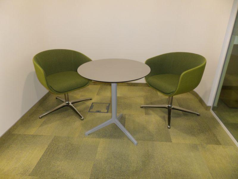 Pedrali Ypsilon table, Profim NU armchair