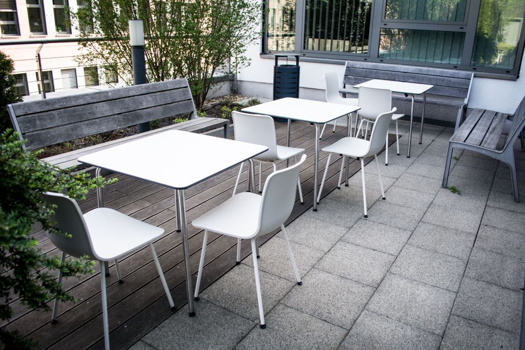 vitra HAL chair and HAL table - outdoor