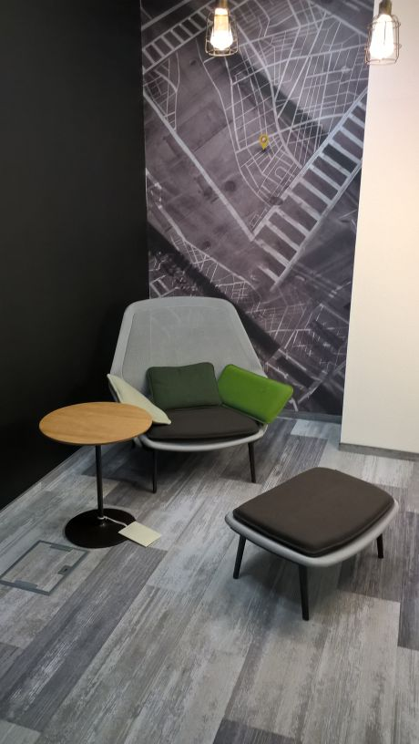 vitra slow chair with ottoman, vitra occasional low table